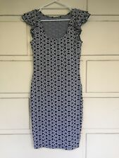 Metalicus black/grey/white nylon&elastane knit fitted dress One Size (6-8 apx)