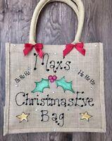 Personalised Glitter Jute Gift Christmas Eve Bag