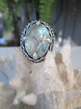 STERLING SILVER MULTI FACETED ABALONE SHELL RING AND PENDANT