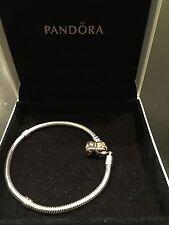 "Pandora Sterling Silver Bracelet With 14K Gold Clasp - 7"""