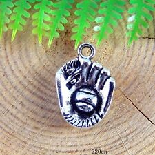 27x Vintage Silver Alloy Mini Baseball Glove Pendant Findings Craft Charms 51248