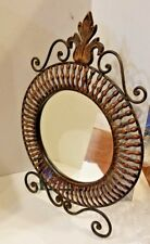 "artistic Copper framed mirror w stand 21"" H x 16"" W ready 2 hang or display"