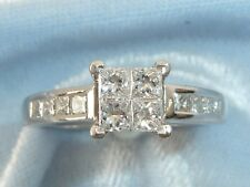 14K White Gold Ring, 4, 2.5mm & 8, 2mm  Diamonds, TCW, .68 Carat, size 7