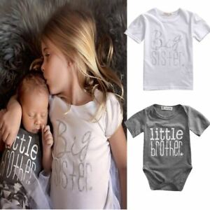 Matching Cotton Clothes Big Sister T-shirt Little Brother Romper Outfit Playsuit