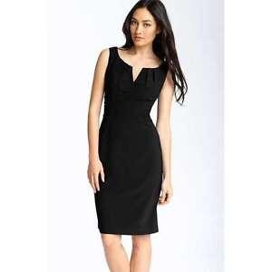 NWT Women's Adrianna Pappell Size 6 Black Split Neck Banadage Dress 13198830