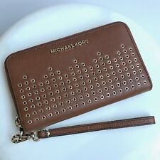 Michael Kors * Hayes Leather Phone Case Wallet Wristlet Luggage Brown COD PayPal