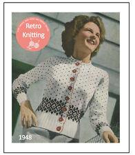 1940s Fair Isle Cardigan Knitting Pattern Copy - Rockabilly - Pin Up