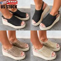 Women's Ankle Strap Espadrilles Sandals Ladies Summer Casual Platform Shoes Size
