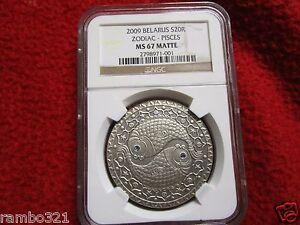 Belarus 2009 20 Rubles Zodiac Signs - Pisces NGC MS67 Silver Coin Bullion pcgs