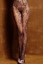 Boho Damen Nylon Strumpfhose floral transparent schwarz Einheitsgröße Rosen