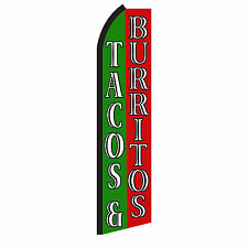 Tacos Burritos Advertising Flutter Feather Sign Swooper Banner Flag Only