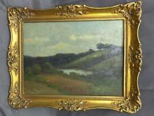 Old Antique Impressionist Landscape Oil Painting Original Framed Trees Lake
