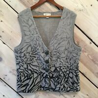 Coldwater Creek Womens Sz Large 14-16 Gray Black Abstract Floral Vest 100% Wool