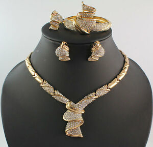 Women 18K Gold Plated Africa Dubai Wedding Party Necklace Jewelry Set And Boxes