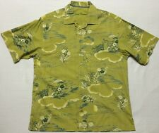 Tommy Bahama Green Floral Cotton/Silk Hawaiian Button-front Shirt Men's Large