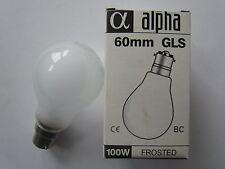 Alpha Bulbs 100W 240V Mat B22 Bayonet Socket 60 mm GLS