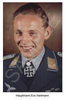 aviation art luftwaffe pilot photo postcard Erich Hartmann colour WW2 JG 52
