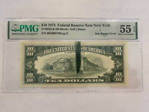 1974 $10 Federal Reserve Note New York with Ink Smear Error PMG 55