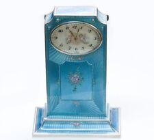 Vintage Guilloche Blue Enamel Silver Desk Clock