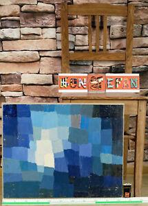 Verena Brixner 1930-2020 Ölgemälde Komposition blau Blautöne vintage Quadrate