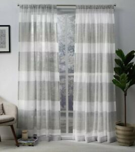 "Bern Rod Pocket Window Curtain 2 Panels 50""x96"" Dove Gray Exclusive Home"