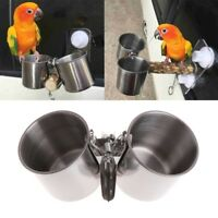 Food Water Feeding Bird Cups With Clip Stainless Steel Parrot Cage Stand
