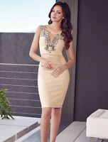 Womens Midi Dress Elegant Cocktail Formal Nude Mesh Navy Embroidery Detail 8 12