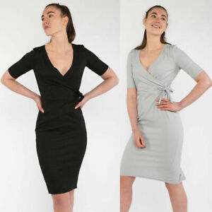 New Womens Wrap Over Formal Short Sleeve Midi Dress With Tie FAST UK DELIVERY