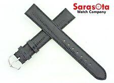 deBeer Genuine Lizard Turned Edge 17x16mm Long Stitched Watchband Black Color