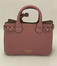 Burberry, Small The Banner Bag In Leather And House Check, Mauve Pink, New, Auth