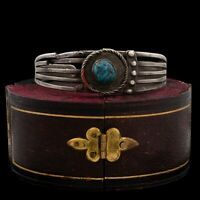 Antique Vintage Native Navajo Pawn Sterling Silver Turquoise Cuff Bracelet 28.2g