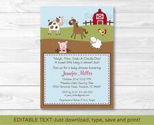 Farm Babies Cow Horse Pig Sheep Printable Baby Shower Invitation EDITABLE PDF