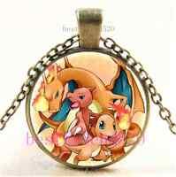Vintage Pokemon Fire Evolutions Cabochon Glass Dome Bronze Pendant Necklace