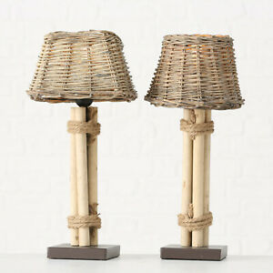 Brown Natural Poplar Wood Lugano Bedside Table Lamp Lights Woven Wicker Shades