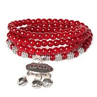 Red Women's Multilayer Bracelet Charm Retro Agate Beaded Health Prosperity Gift