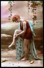 BATHING BEAUTY.TINTED REAL PHOTO.  OLD POSTCARD
