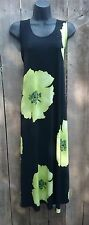 Jostar big hibiscus no iron travel fabric tank dress green XL