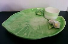 Made in Italy ~ Manelion Ceramic Frog on a Leaf with Flowers Chip & Dip Server
