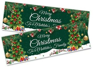 x2 Personalised Christmas Banner Xmas Party House Decoration Occasion 39