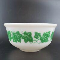 "Vintage Hazel Atlas Milk Glass Green Ivy Large 8"" Nesting Mixing Bowl"
