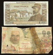 SAINT-PIERRE-MIQUELON 20 & 100 FRANCS - No Reserve