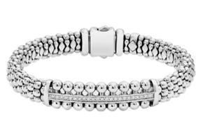 Lagos Caviar Spark Sterling Silver Diamond Bangle Bracelet 9mm New