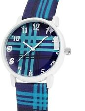 Donna Kelly Damen Armbanduhr hell/dunkel Blau Schottenmuster Kunstleder-Armband