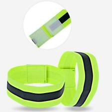 Reflective Arm Band Hook Loop Safety Bands For Cycling Running Walking S3J5