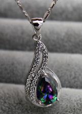 18K White Gold Filled - 7*10MM Rainbow MYSTIC Topaz Pendant Gemstone Necklace
