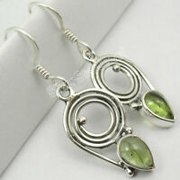 "925 Solid Sterling Silver Peridot Drop Dangle Earrings 1.4"" Ladies Engagament"