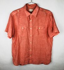 Banana Republic Linen Blend Button Front Shirt Mens Large 16-16 1/2 Salmon Pink
