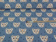 Jersey Stoff Kinderstoff  blau Tieger  ab 0,50 mtr. :2265