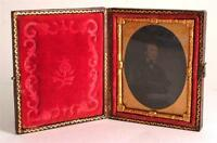 c1860 1/9 plate Ambrotype seated Victorian Gentleman. Hand tinted face