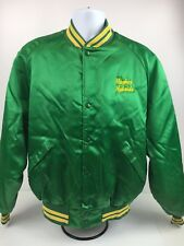 Vintage 70s 80s Green Satin Baseball Ringer Jacket Hughes Hybrids Size XL Farmer